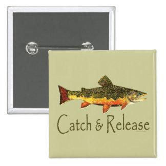 Pesca de la trucha de la captura y del lanzamiento pins