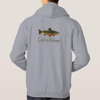 Pesca de la trucha de la captura y del lanzamiento sudadera