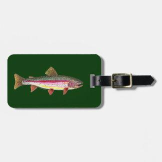 Pesca de la trucha etiquetas para equipaje
