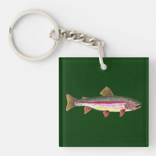 Pesca de la trucha llavero cuadrado acrílico a doble cara