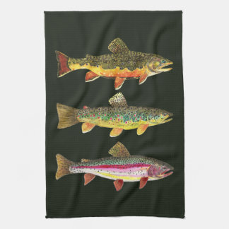 Pesca de la trucha toalla de cocina