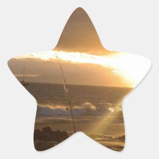 Pesca de Maui Hawaii en la puesta del sol Pegatina En Forma De Estrella