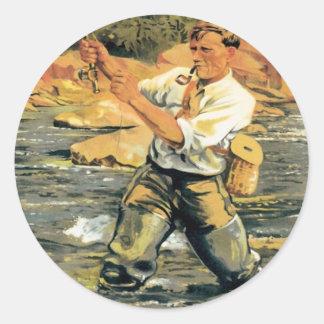 Pesca de Nueva Zelanda del vintage Pegatina Redonda