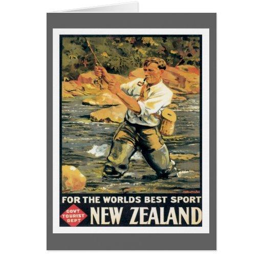 Pesca de Nueva Zelanda del vintage Tarjeta De Felicitación