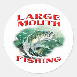 Pesca de perca americana pegatinas redondas