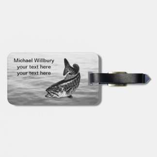 Pesca de perca canadiense etiqueta para equipaje