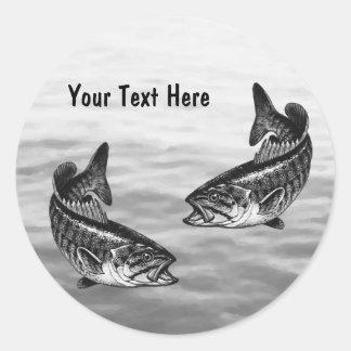 Pesca de perca canadiense pegatina redonda