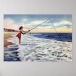 Pesca de resaca de Carolina del Norte de la playa  Posters