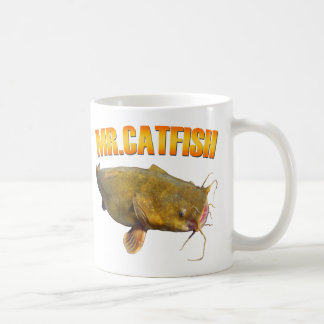 Pesca de Sr. Catfish Taza Básica Blanca