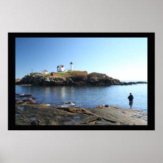 Pesca de York Maine del faro de la protuberancia p Poster