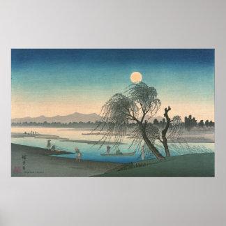Pesca debajo de la Luna Llena Poster