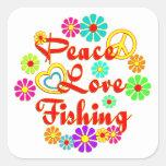 Pesca del amor de la paz pegatinas cuadradases