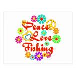 Pesca del amor de la paz postal