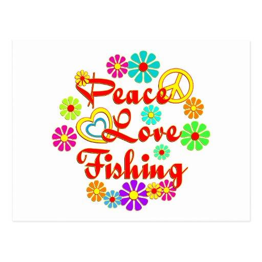 Pesca del amor de la paz tarjeta postal