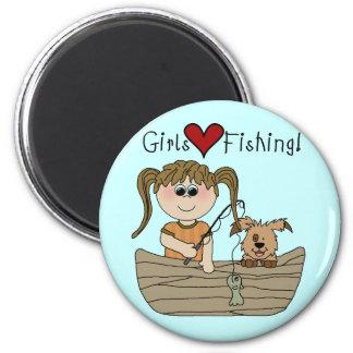 Pesca del amor de los chicas imán redondo 5 cm