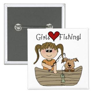 Pesca del amor de los chicas pin cuadrada 5 cm