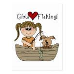 Pesca del amor de los chicas tarjetas postales