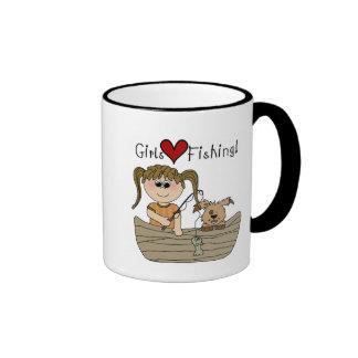 Pesca del amor de los chicas tazas de café