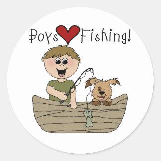 Pesca del amor de los muchachos pegatina redonda