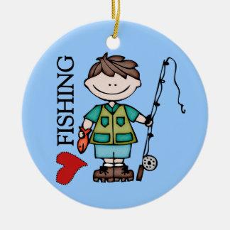 Pesca del amor del muchacho I del pelo de Brown Adorno De Navidad