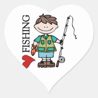 Pesca del amor del muchacho I del pelo de Brown Calcomanías Corazones