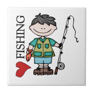 Pesca del amor del muchacho I del pelo negro Azulejo Cuadrado Pequeño