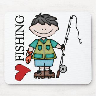 Pesca del amor del muchacho I del pelo negro Tapete De Ratones