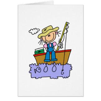 Pesca del chica del palillo tarjeta de felicitación