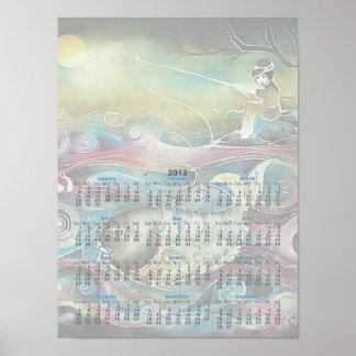 Pesca del chica en la noche póster
