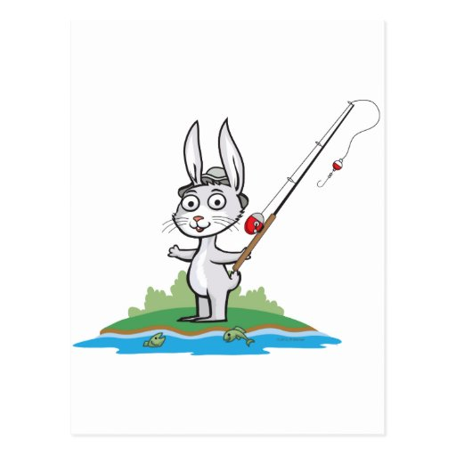 Pesca del conejito tarjeta postal