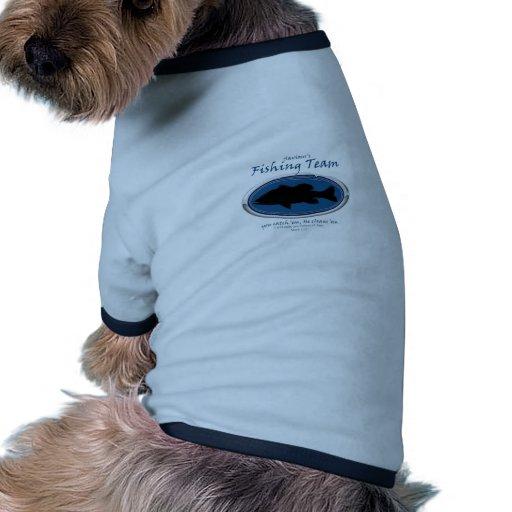 Pesca del equipo camiseta con mangas para perro