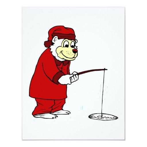 """Pesca del hielo del oso polar en pijamas invitación 4.25"""" x 5.5"""""""