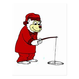 Pesca del hielo del oso polar tarjeta postal