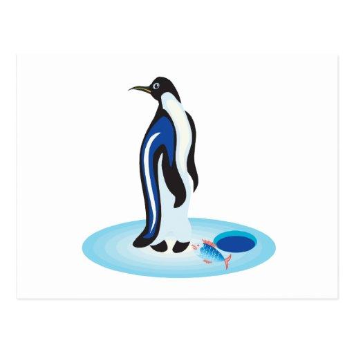 Pesca del hielo del pingüino postales