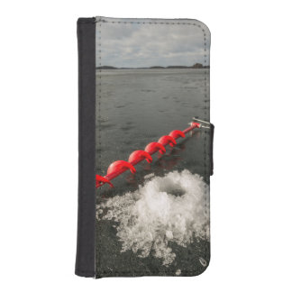 Pesca del hielo funda billetera para teléfono