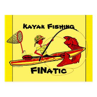 Pesca del kajak tarjeta postal