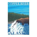 Pesca del oso en el río - el río Copper, Alaska Impresión En Lona