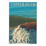 Pesca del oso en el río - el río Copper, Alaska Impresiones En Madera