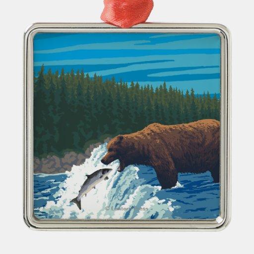 Pesca del oso en el río - Montana Adorno Cuadrado Plateado