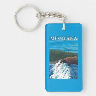 Pesca del oso en el río - Montana Llavero Rectangular Acrílico A Doble Cara