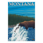 Pesca del oso en el río - Montana Posters