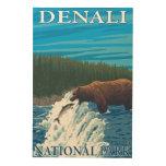 Pesca del oso en el río - parque nacional de impresión en madera