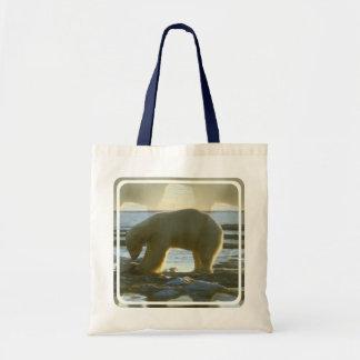 Pesca del oso polar bolsa lienzo
