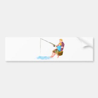 Pesca del padre y del hijo etiqueta de parachoque