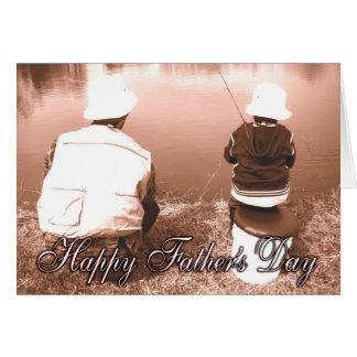 Pesca del padre y del hijo - el día de padre feliz tarjeta de felicitación