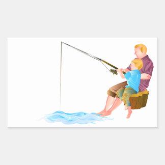 Pesca del padre y del hijo rectangular altavoces