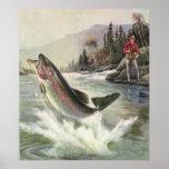 Pesca del pescador de los pescados de la trucha ar posters
