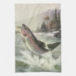 Pesca del pescador de los pescados de la trucha ar toalla de cocina
