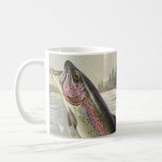 Pesca del pescador de los pescados de la trucha ar tazas de café