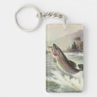 Pesca del pescador de los pescados de la trucha llavero rectangular acrílico a doble cara